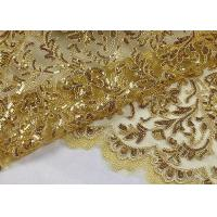 China Stretch Golden Lurex Sequin Lace Fabric , Nylon Mesh Fabric With Sequin Golden Thread on sale