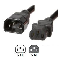 IEC C14 to C13 25 Ft Power Cord UL Listed 10 Amp 250V 18 AWG For Computer