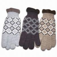 Quality Men's Knitted Gloves, Made of 100% Acrylic, Various Colors are Available for sale
