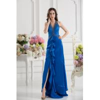 Buy Royal Blue Halter V Neckline Mermaid Long Evening Party Dress With Beads Online at wholesale prices