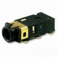 China Stereo Jack with 3.5mm Phone Jack, Right Angle SMT PCB Type in 3A1A, Center Pin on sale