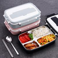 Quality Food Grade 304 Stainless Steel Reusable Meal Containers 4 Compartment Bento Lunch Box for sale