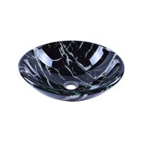 China Bathroom Round Tempered Glass Basin Vessel Sink With Artistic Marbling Pattern Above Counter Vanity Sink bowl on sale