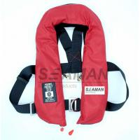Quality EC / MED Approval 150N Orange Red Double Air Chamber Inflatable Life Jacket With Harness for sale