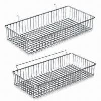 Quality Wire Hanging Basket, Suitable for Grid Panels and Slat Walls for sale