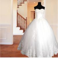 China Spring Lace flower Ball Gown Wedding dress / halter Strapless wedding gowns on sale