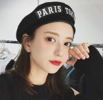Quality Women's Autumn Winter Wool Bunny Belt Beat Cap Wild Letter Sticker Beibei Painter's Hat for sale