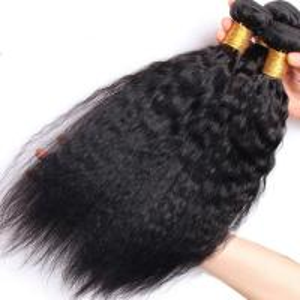 Brazilian / Peruvian Kinky Straight Virgin Human Hair Bundles With Natural Color