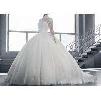 China High Collar Long Sleeve Winter Wedding Dresses / Zipper Big Beaded Ball Gown on sale