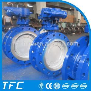 China API 609 metal seat flange triple eccentric butterfly valve, motorized valve actuator on sale