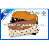 Buy cheap Business type Plain Pencil Cases , Gray Custom Leather Pencil Cases With Button product