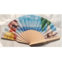 Quality Hand Held Folding Hand Fans With Natural Wooden Ribs And Fabric or paper Cover , size 23cm for sale