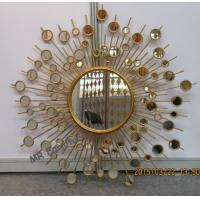 Quality Round Metal Mirror Wall Decor Sunburst Style 37 Inch Diameter Metal Wire Frame for sale