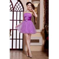Quality Best Selling Strapless Tulle Ruffle Fluffy Purple Short Evening Prom Dress With flower for sale