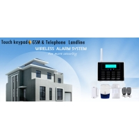 Quality Dual Network LCD GSM PSTN Alarm Systems with touch keypad and wireless doorbell for sale