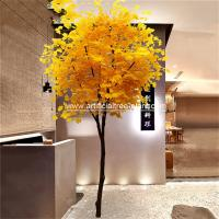 Slender Yellow Branch Leaf Artificial Ginkgo Tree Gold Plant For Road Decoration for sale