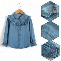 China 100% Cotton Children Slim Fit Long Ruffles Sleeve Denim Tops With Wood Button Closure on sale