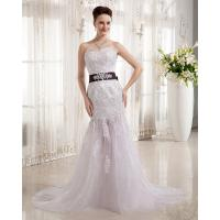 Quality Luxurious Lace Flower Bra Beaded Wedding Dresses Fishtail Skirt with Rhinestone Belt for sale