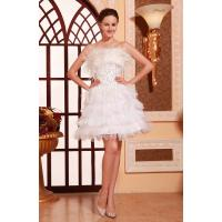 Quality Charming Strapless Satin Ruffle White sequins Evening Dresses For Short Party Gowns With Feather for sale