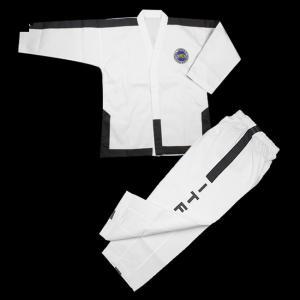 China Hot sale Custom white ITF master Taekwondo uniform striped ITF TKD uniform Taekwondo Gi for master 4-6 dan on sale