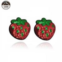 Quality Small Strawberry Fruit Iron On Patches Sequined Material With Hoop Hook Backing for sale