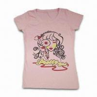China Pink Children's T-shirt, Made of 100% Cotton, Various Sizes Available, Personal Designs Welcomed on sale