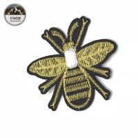 China Handmade Fashionable Iron On Embroidered Patches 3D Bee Rhinestone Crystal Material on sale