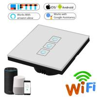 Buy cheap EU/UK Wifi Smart Light Switch Glass Screen Touch Panel Voice Control Wireless from wholesalers