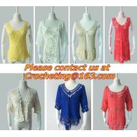 China Hollow out belt sexy knitted crover up crochet beach dress robe femme sund, clothing on sale
