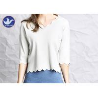 Quality Wavy Edge Womens Knit Pullover Sweater Half Sleeves Short Body Summer Knitwear for sale