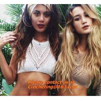 China Feminina Cropped Crochet top women knitted halter Strappy crop summer tanks tops bra Bikin on sale