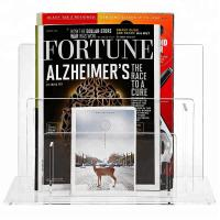 Quality Elegant Acrylic Brochure Stand Clear Acrylic Magazine Display Rack Simple Design for sale