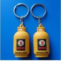 China Custom 3d Gas Cylinder Bottle Shape Rubber PVC Keychain Key Holder For Advertising Souvenirs on sale