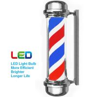 Quality Flat Chrome Barber Pole Light Red White Blue Color Outdoor Waterproof Hair Shop for sale
