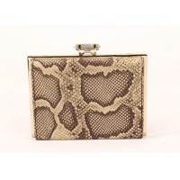 Snakeskin Pattern Dark Brown Clutch Bag , Cow Leather Black Patent Clutch Bag