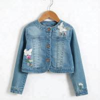 Quality Long Sleeve Kids Denim Clothes / Girls Denim Jackets With Lace Patch Decoration for sale