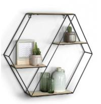 Quality Hexagon wall shelf wood metal Hanging Shelves floating Wood Shelf geometric shelf for sale