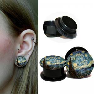 Quality Retail Acrylic Black Screw ear plugs Internally flesh tunnel summer Woman ear gauges stretcher piercing body for sale