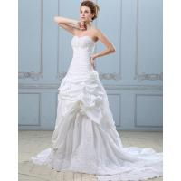 Chic Open back couture Long Train Wedding Dresses / Embroidery Satin wedding gowns