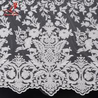 Buy cheap 2019 Wholesale 131CM White Color Cloth French Embroidered Bridal Lace Fabric from wholesalers