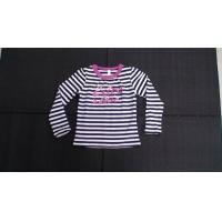 China Long Sleeve Balck And White Stripe Girls Shirt Boutique Childrens Clothing on sale