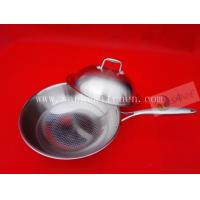 Quality Stainless steel wok,thickness 2.5mm with cast iron handle for sale