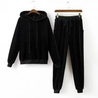 China Custom Branded Mens Sports Tracksuits 2 Pieces Hoodies And Pants Ribbed Trims on sale