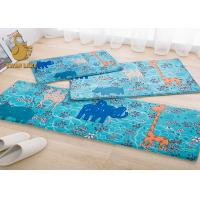 Quality Blue Indoor Area Rugs , White Flower Pattern Plastic Floor Carpet for sale