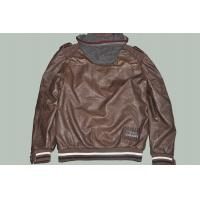 China Plus Size, Big and Tall, Coffee and Fashion Western Casual Mens Leather Jacket with Hoodie on sale