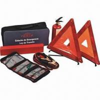 Quality 6 pieces car tool kit, with fire extinguisher, booster cable, FAK, triangle for sale