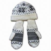 Quality Acrylic Knitted Hat Mitten Set, Various Colors are Available for sale
