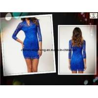 Quality Ladies′ Hot Fashion Brand New Women′s Sexy for Women Mini Lace Slim V-Neck 34 Sleeve Dress Plus Size, 8 Colors for sale