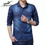Quality 100% Cotton Denim Button Down Shirt XS - 2XL Size Plain Dyed Designed for sale