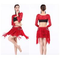China Indian bollywood Sexy belly dance practice wear clothing lace top and skirt on sale